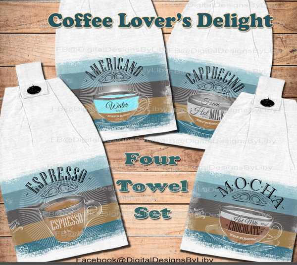 COFFEE LOVERS INTL (4 Towel Designs)