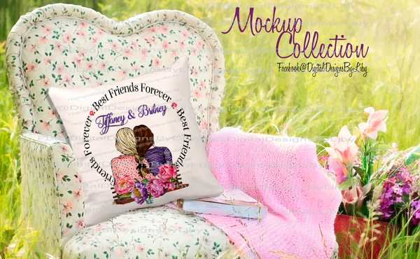 FIELD OF FLOWERS PILLOW MOCKUP I (png & psd formats)
