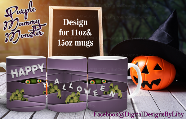 PURPLE MUMMY MONSTER Mug (2 DESIGNS INCLUDED)