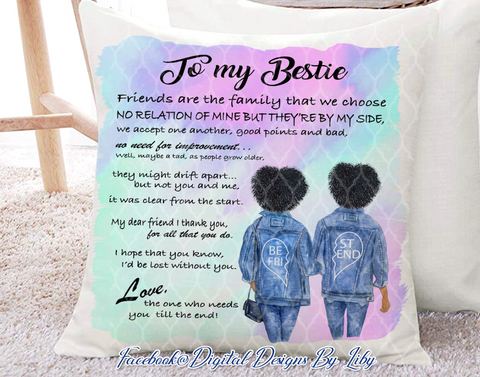 BESTIES IN JEANS II Pillow Design (Choose Hair Color Combination)