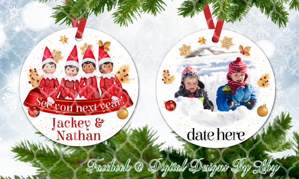 CHRISTMAS ELF ORNAMENT (Front & Back Designs+Mockups)
