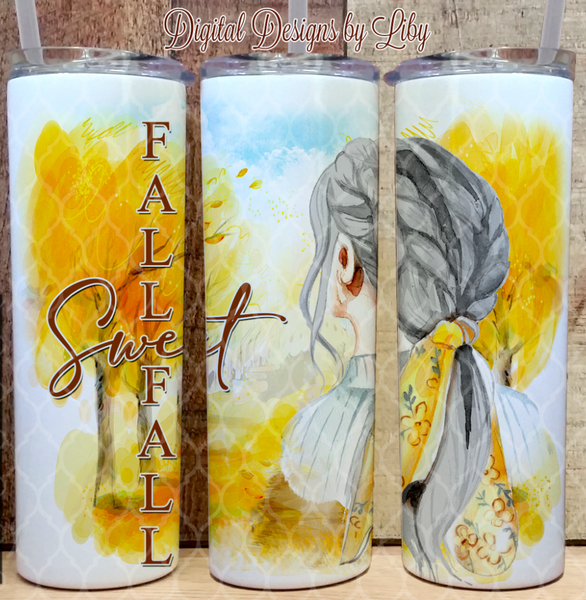 FALL SWEET FALL MATURE WOMAN (2 Designs~Dark Skin & Light Skin)