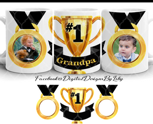 FATHERS DAY TROPHY Mug Template +WordArt