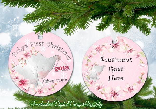 BABY ELEPHANT Baby's First Christmas Ornament (Plus  FREE BONUS Mockup)