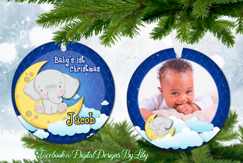 Elephant Moon Baby's First Christmas Ornament (Plus  FREE BONUS Mockup)