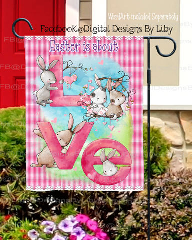BUNNY L-O-V-E (Mug, T-Shirt, Garden Flag, Pillow & More!)