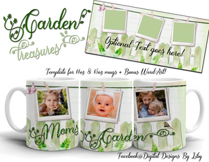 Garden Treasures Mug Template ~ Personalize with photos & Bonus WordArt