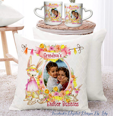 Grandma's Easter Bunnies (Mug, T-Shirt, Pillow & More Designs)