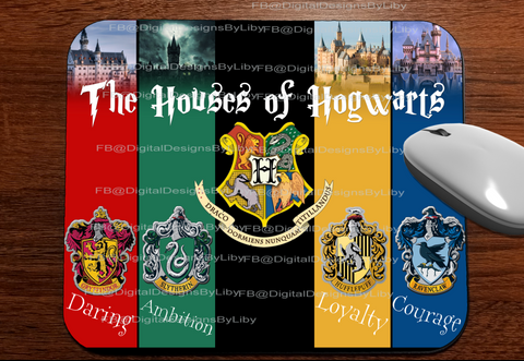 HOUSES OF HOGWARTS (Mug, T-Shirt, Mouse & License Plate Designs)