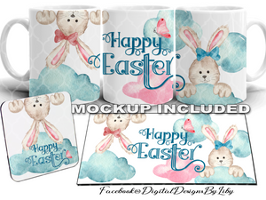 EASTER HANGING BUNNIES (Mug, Coaster, Placemat & Mockups)