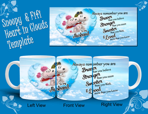 Heart In Clouds Mug Template