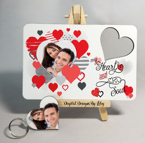 HEART & SOUL  Post Card & Heart Key Chain