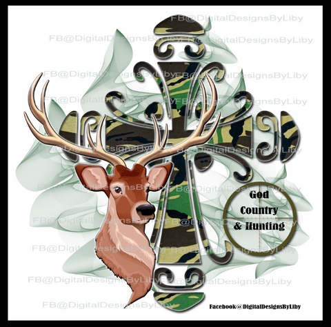 HUNTER'S CAMO CROSS (T-Shirt & Mug Designs)