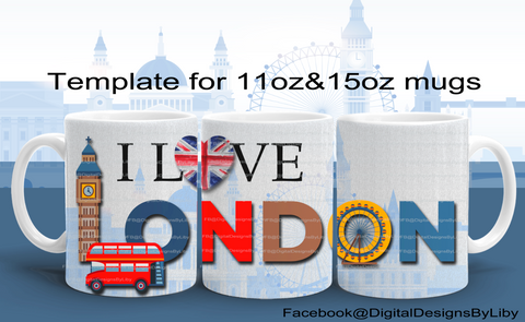 I LOVE LONDON Mug Design + Bonus Mockup