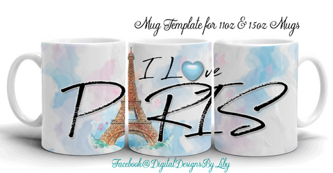 I LOVE PARIS Mug Design + Bonus Mockup