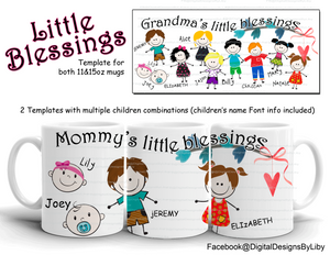 Little Blessings Mug PLUS Bonus: Children Artwork (3 Skin Tones)