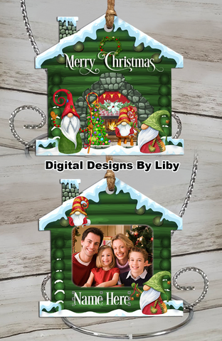 LOG CABIN GNOME HOLIDAYS (House Ornament Design)