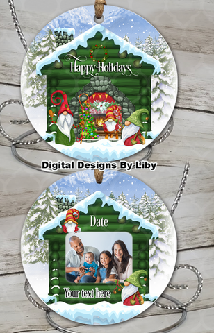 LOG CABIN GNOME HOLIDAYS (ROUND Ornament Design)
