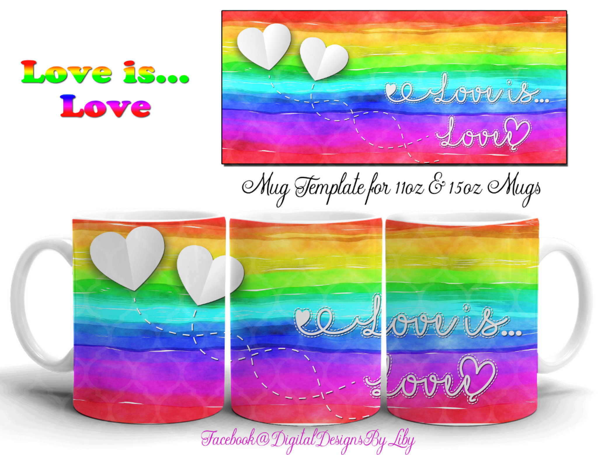 LOVE IS LOVE Mug Design + BONUS MOCKUP