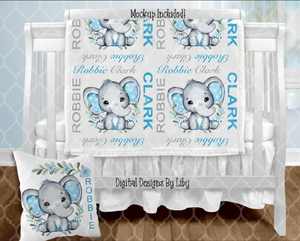 BABY BOY ELEPHANT BLANKET & PILLOW DESIGNS (3 Designs + Mockups)