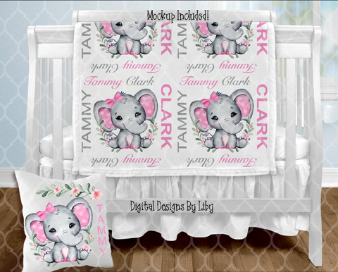 BABY GIRL ELEPHANT BLANKET & PILLOW DESIGNS (3 Designs+Mockups)
