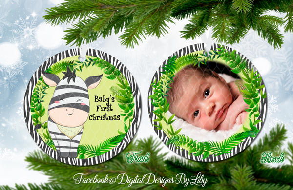 BABY ZEBRA Baby's First Christmas Ornament (Plus  FREE BONUS Mockup)
