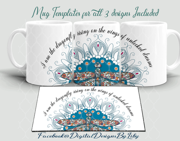 DRAGONFLY MEGA BUNDLE (3 Designs for Mugs, T-Shirts/Pillows & More)