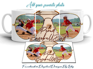 PROUD BASEBALL MOM/DAD (T-Shirt, Mug & Mouse Pad Designs)