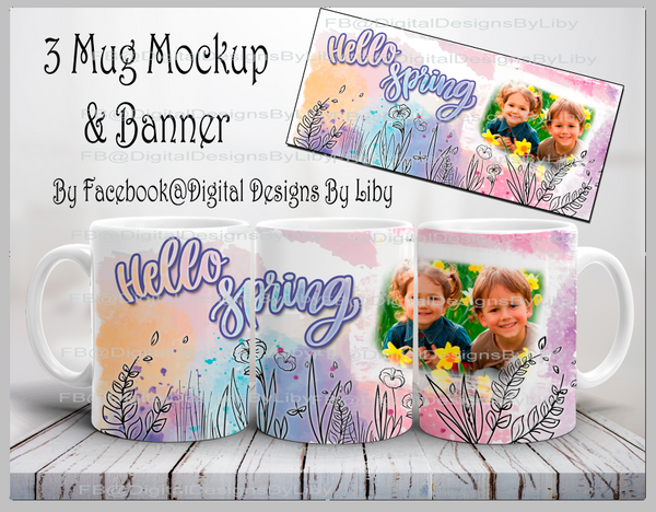 3-View Mug Mockup with Banner (Photoshop Required)