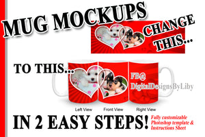 3-View Mug Mockup with Banner (Photoshop or PS Elements Required)