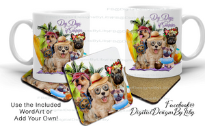 DOG DAYS OF SUMMER ( T-Shirt, Mug & Coaster Designs)