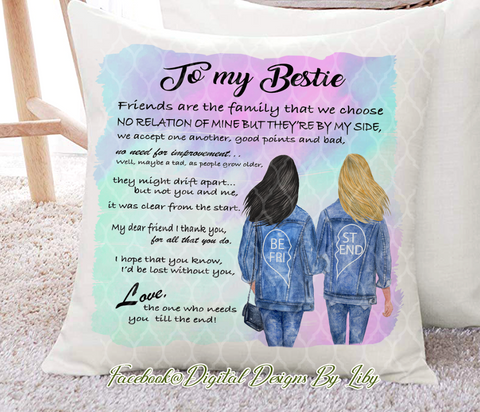 BESTIES IN JEANS Pillow Design (Choose Hair Color Combination)