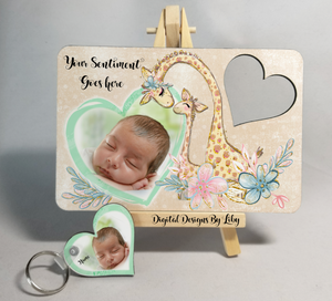 MOMMY n ME Giraffe Post Card & Heart Key Chain