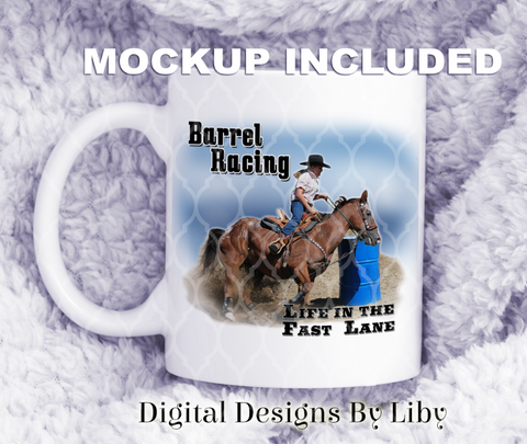 BARREL RACING (Mug & Large Design for T-Shirts, Pillows & More)