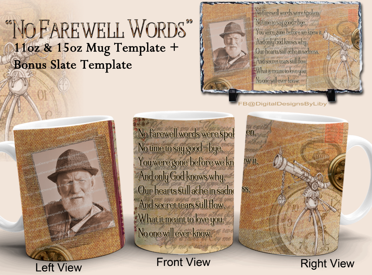 No Farewell Words Memorial Mug & Slate Templates