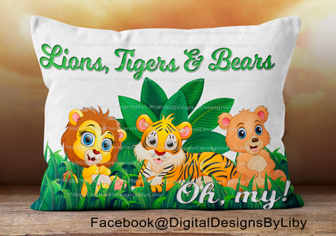 LIONS, TIGERS & BEARS!  (Pillow, Onesie & T-Shirt Designs)