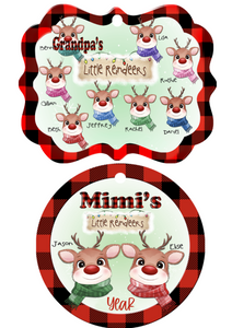 LITTLE REINDEERS ORNAMENT -Round, Benelux & Rectangle-PLUS WordArt & Reindeer Heads