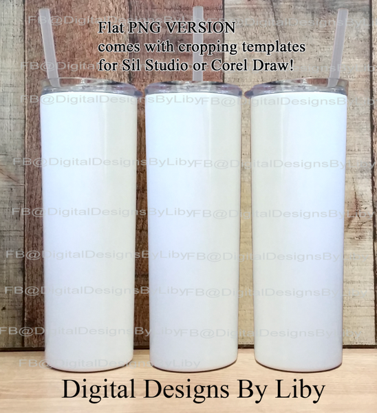 3-VIEW SKINNY TUMBLER MOCKUP (PNG Version - Studio & Corel)