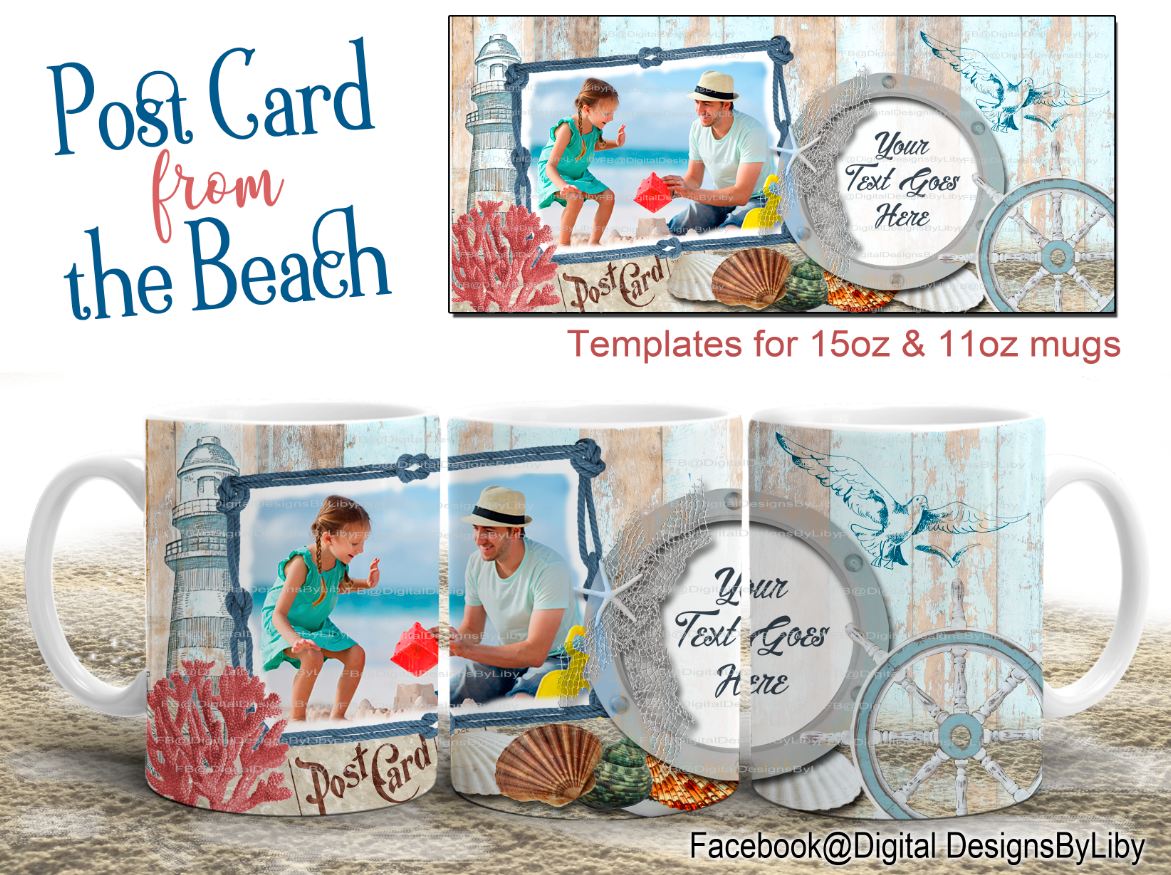 Post Card from the Beach MUGTemplate