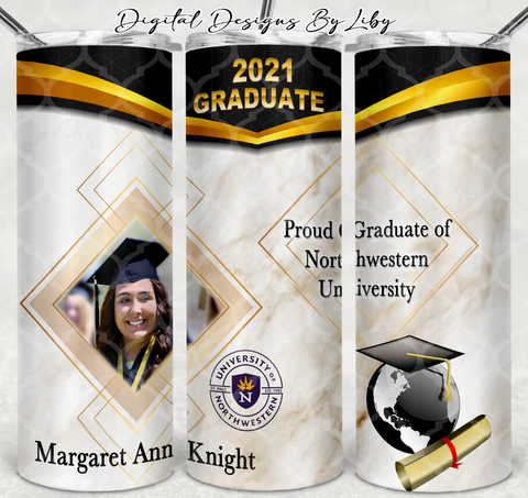 PROUD GRADUATE 20oz SKINNY w School Color Trim Overlay + WordArt