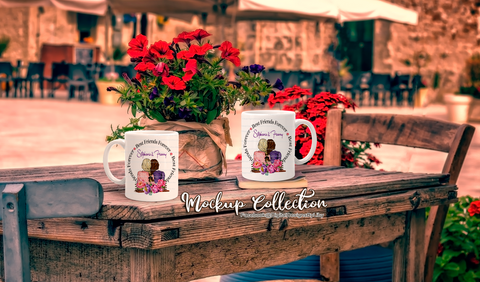 MUGS ON PICTURESQUE FLORAL TABLE (png & psd formats)