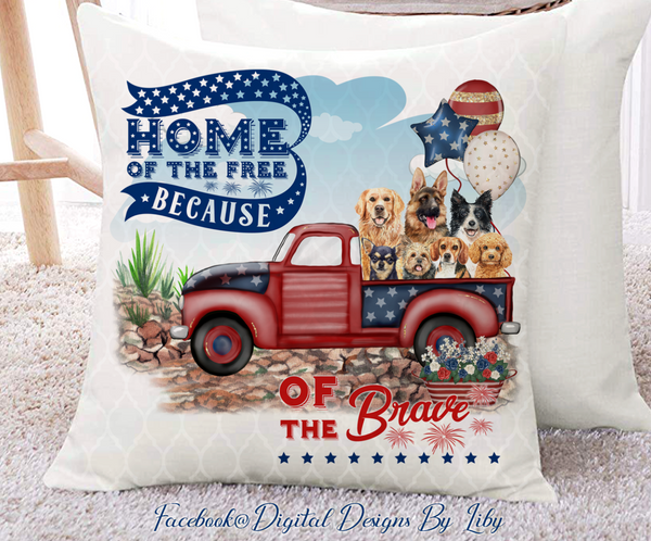 HOME OF THE FREE (Flag AND Pillow Designs)