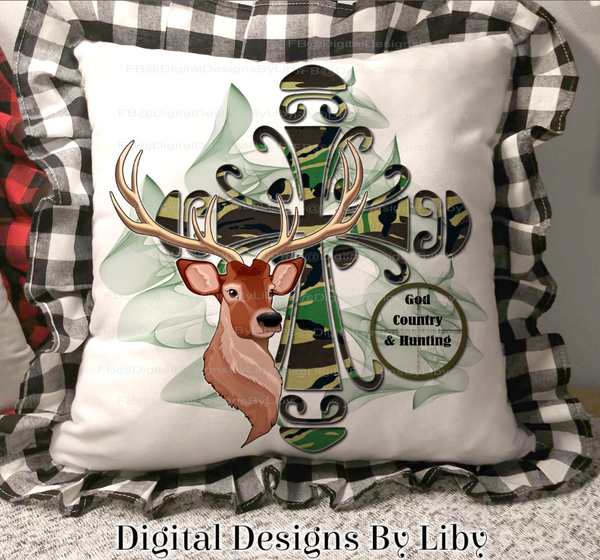 HUNTER'S CAMO CROSS (Pillow, T-Shirt & Mug Designs)