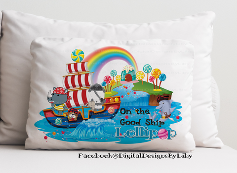 ON THE GOOD SHIP LOLLIPOP! (2 Designs for T-shirts, Pillows & More + Mockups)
