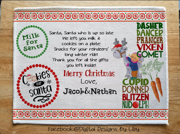 MILK & COOKIES FOR SANTA (2 Placemat Designs Ready to Personalize)