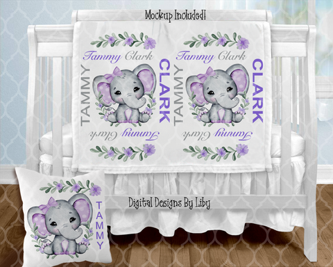 PURPLE BABY GIRL ELEPHANT BLANKET & PILLOW DESIGNS (3 Designs+Mockups)