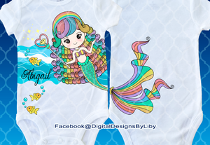 RAINBOW MERMAID (Onesie and Tee Design)