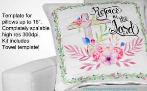 Rejoice in the Lord Pillow & Towel Templates
