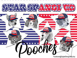 Star Spangled Pooches T-Shirt Design (Hound Dog)