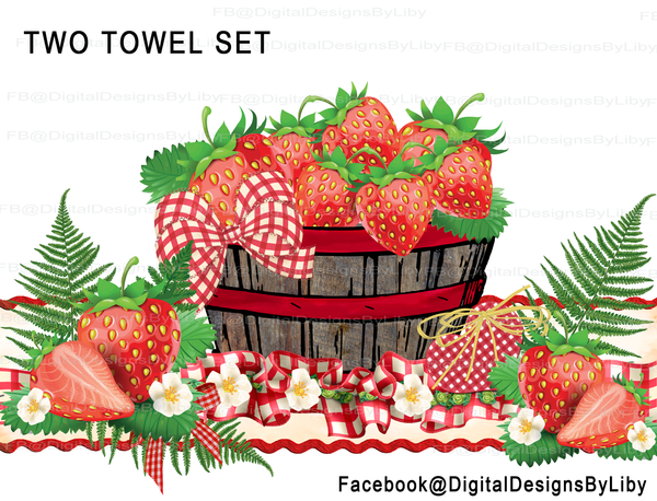 Grandma's Recipe Kitchen Towel Set of 2 Designs (Strawberry)